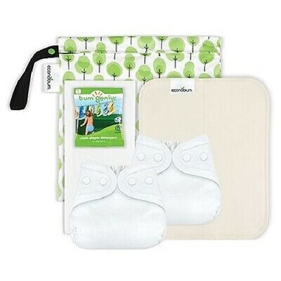 Econobum Newborn Cloth Diaper Starter Kit - 2 Covers, 6 prefolds, 6 liners +more