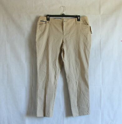 Charter Club Womens Plus 22W Pants Stone Khaki Beige Slim Leg Mid Rise Chino