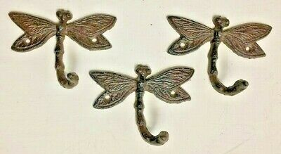 SET OF 3 DRAGONFLY HOOKS rustic brown cast iron hooks for bathroom kitchen
