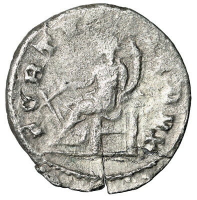 """LARGE Silver Roman Coin of Gordian III """"Good Luck Deity, Fortuna"""" CERTIFIED"""