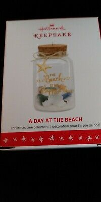 """Hallmark Keepsake 2016 """"A DAY AT THE BEACH"""" My Happy Place Ornament NEW in BOX"""