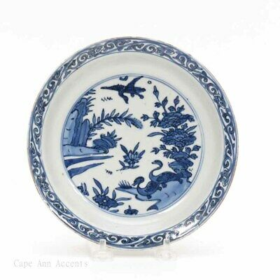 Chinese Wanli Period Blue and White Duck Landscape Dish