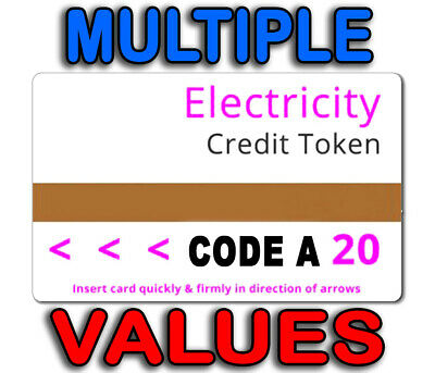Genuine Ampy Electricity Electric Token Credit £20 Value Cards - Code A