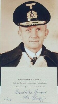 Karl Donitz German Admiral Naval Commander WW II Signed Autograph Note Card