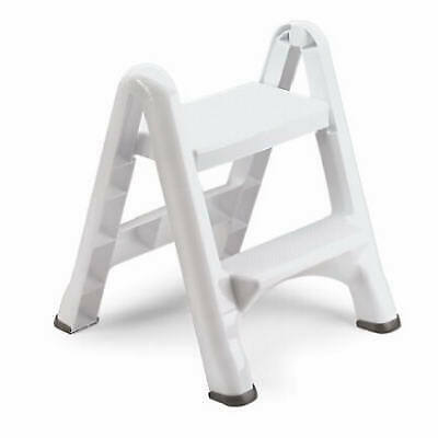 Folding 2-Step Stool, White