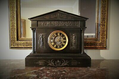 Large French Antique Black Slate Japy Freres Clock c.1800's