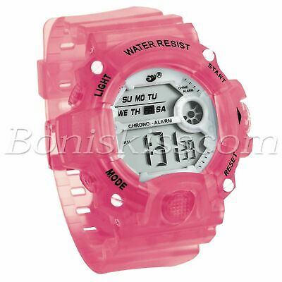 Kids Students Girls Multifunction Alarm Date LED Digital Sports Wrist Watch Pink