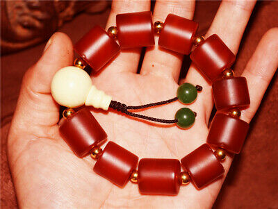 tibetan antique red agate bracelet prayer beads mala f2 old nanhong tibet rosary