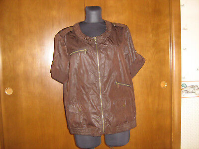 Zenergy by CHICOS Brown full zip JACKET TOP sz 2 M pockets zippers rull-up sl