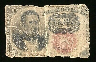 1874 10 Cent US Fractional Currency Note Fifth Issue 10c Poor Condition