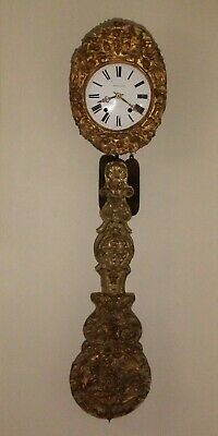 French Antique Comtoise Wall Clock with Repousse' Brass Pendulum circa 1800's