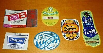 Collectable soft drink labels: Set of 6 assorted imperial drink labels MINT