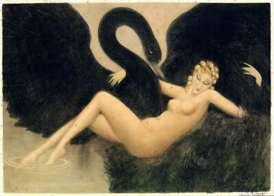 Nude woman with black swan bird Louis Icart lady retro 5 x 7 Art Print