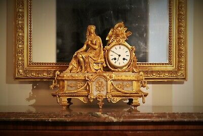 French Antique Gilt Spelter and Onyx Marble Clock Vincenti 1855