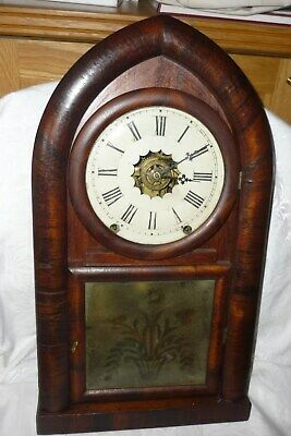 Early American, large, 'Round Gothic', 8 day, shelf clock-time, strike & alarm