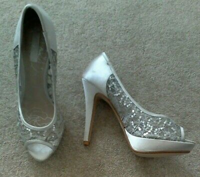 "Size 6 - Light Beige Sequinned Platform Bridal Shoes by ""Occasion"""
