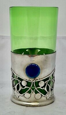 rare liberty & co tudric art nouveau pewter & enamel tea glass archibald knox
