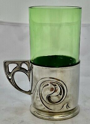fine liberty & co tudric art nouveau pewter tea glass with liner archibald knox