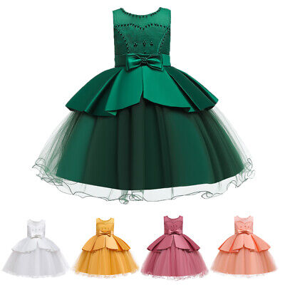 Kids Tutu Gown Flower Girl Princess Dress Holiday Pageant Birthday Party Costume