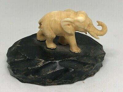 Vintage White Carved Celluloid Elephant Statue Figurine Black Wood