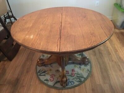 Solid American Oak Round Lion Claw-foot Table & Extender