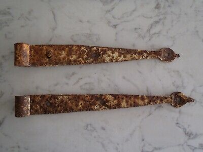 Vintage Blacksmith Rustic Wrought Iron Gate/Barn Strap Hinges #5