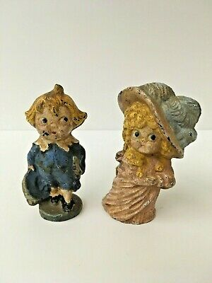 Pair Antique Hubley Blue Boy and Duchess Couple Cast Iron Paperweights