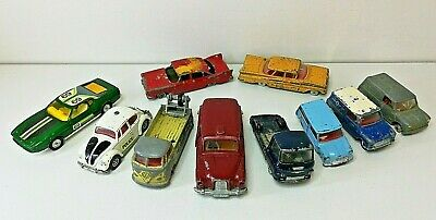 vintage Corgi & Dinky die cast models x 10. some parts missing &  need resto`