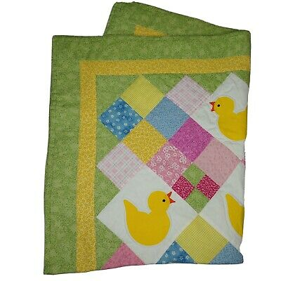 """Handmade Quilted Baby Blanket With Ducks 33"""" x 42"""" Yellow Pink Green Blue White"""
