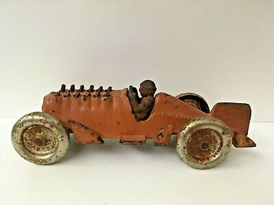 Antique Cast Iron Hubley Orange Race Car Driver Toy w/ Moving Pistons
