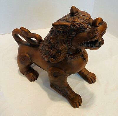 "Vintage Chinese Asian Foo Dog Statue Ceramic Dragon Lion Brown 9.5"" Tall"