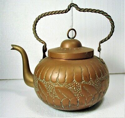 Arts & Crafts Authentic Early 20Th C Copper Tea Kettle, Chased Vegetal Design