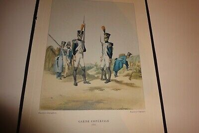 ANTIQUE Vintage FRENCH Military PRINT 1806 GARDE IMPERIALE Fusiliers-Grenadiers