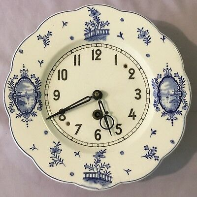 Delft Round Ceramic Plate Wall Clock - Germany
