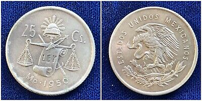 ROUND CAP /& RAY BALANCE SCALE COIN 1951 Mexican 30/% Silver AU 25 Centavos