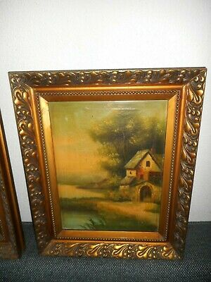 Very old oil painting,2.{ Watermill, house, trees near the river, nice frame! }.