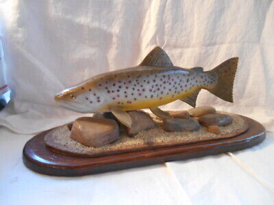 Wood Hand-Carved, Hand-Painted Brown Trout. Signed