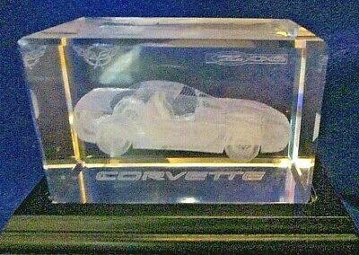 "CORVETTE Z06 LASER  EDGED CRYSTAL PAPERWEIGHT (3 1/4"" x 2""x 2"") ON WOODEN BASE"