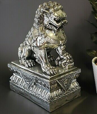 Foo Dog Statue Fu Chinese Guardian Lion Female Temple Asian Silver Feng Shui 14""