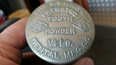 rare nickle plated brass s s white tooth powder tin