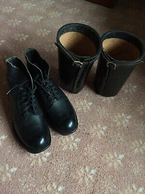 Boots Military Deck Boots Black With Gaters Size 7