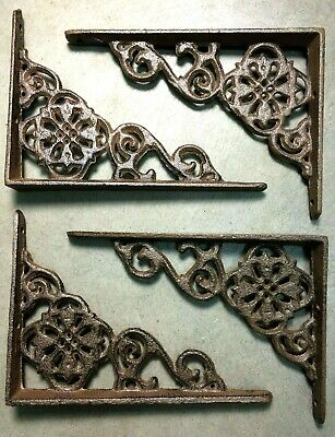 SET of 4 ANTIQUE BRONZE VICTORIAN FLORAL STYLE cast iron brace bracket corbel 6""