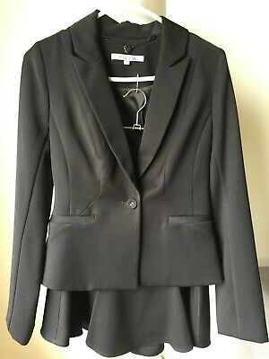 REVIEW Women's Black Business Suit, Short Fit and Flare Skirt + Jacket, Size 8