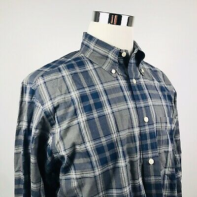 Brooks Brothers Mens Large Regent Button Down Shirt Gray Blue Plaid 100% Cotton