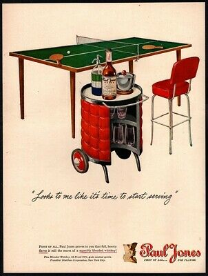 1946 PAUL JONES Whiskey - Pool Table - Alcohol -  Color Wall Decor VINTAGE AD