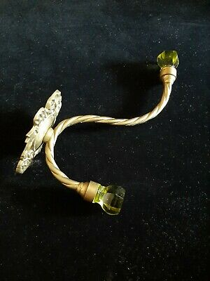 Antique Vintage Ornate Solid Brass Clear Glass Knobs WALL MOUNT COAT HOOK