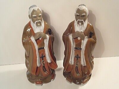 """Antique Chinese Mudmen Matching Pair of Priests 8.5"""" Tall Large Statues"""