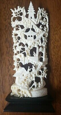 Antique/Vintage Chinese Hand Carving. Very intricate details. Wood Base.