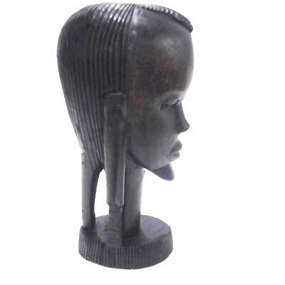 "Carved Ebony Wood African Female Tribal Figurine Hand Carved Collectible 9"" Tall"