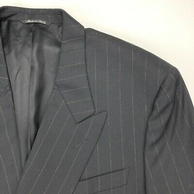 Canali Proposta Men's Wool Double Breasted Jacket Blazer Black Stripes • 44 Long